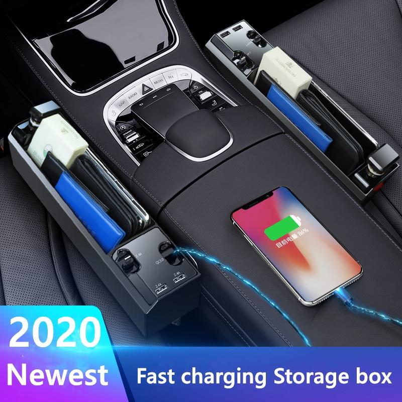 Fast Charging Car Seat Crevice Storage Box Seat Gap Slit Pocket Catcher Organizer Universal Car Seat Organizer Card Phone Holder