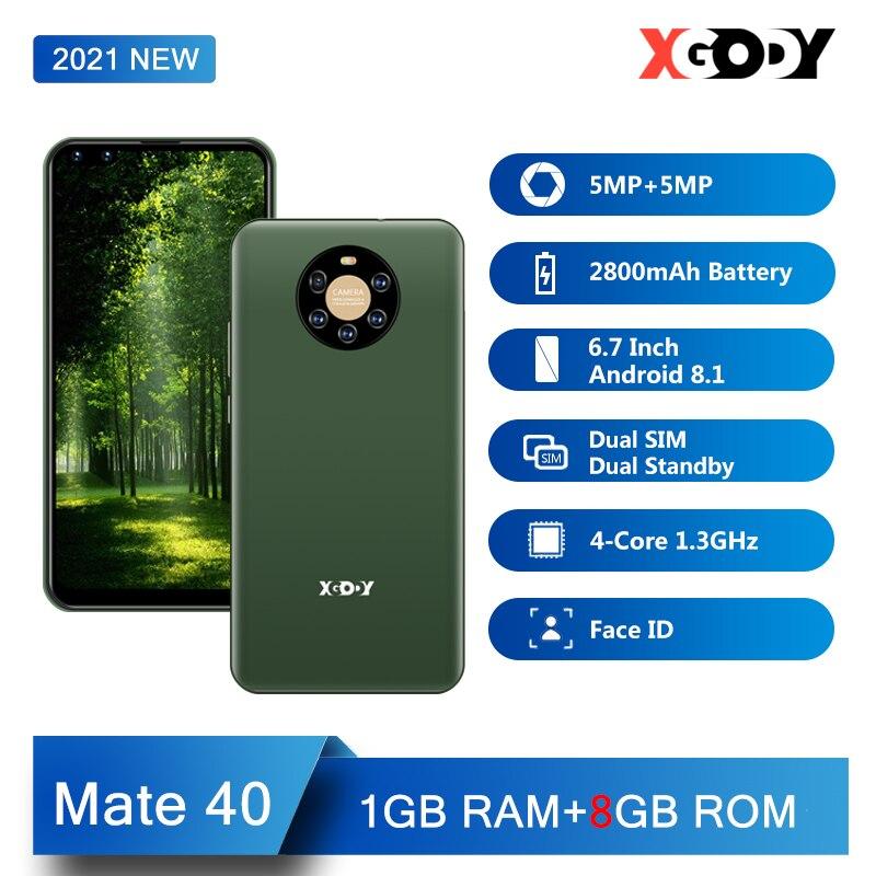 XGODY MATE 40 smartphone Android mobile phone 1GB 8GB 6.7 inch 2800mAh 3G 5MP Camera WiFi GPS Unlock Dual SIM 2021 New Cellphone