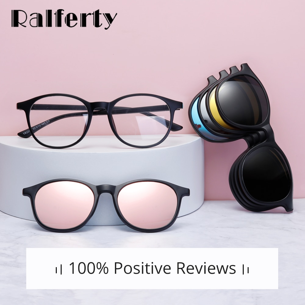 Ralferty Magnet Sunglasses Women Polarized 6 In 1 Eyeglass Frame With Clip On Glasses Men Round UV40