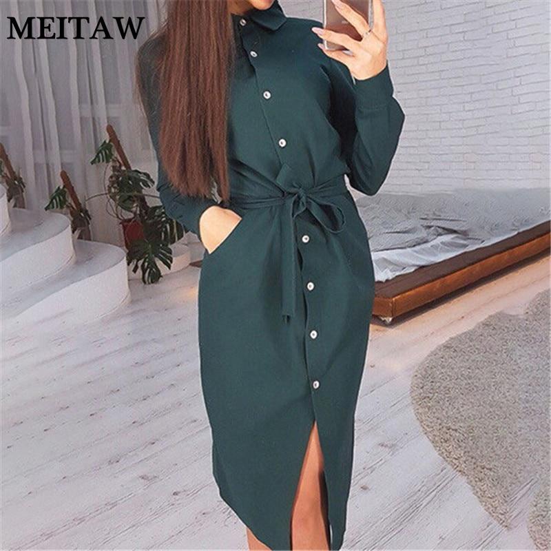 2021 primavera verão senhoras midi camisa vestido feminino casual manga longa botão yello verde vestido feminino vestido de escritório do vintage