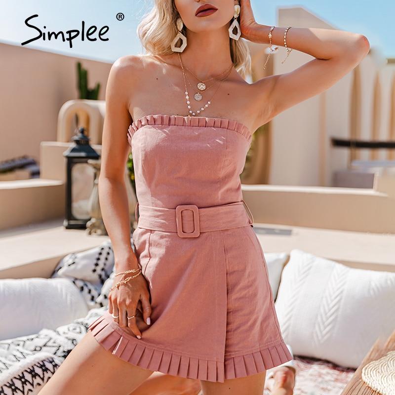 Simplee-بذلة قصيرة مكشكشة بدون أكمام للنساء ، ملابس صيفية مثيرة ، لون سادة ، غير رسمية ، للإجازات ، عصرية ، خصر عالي ، برباط