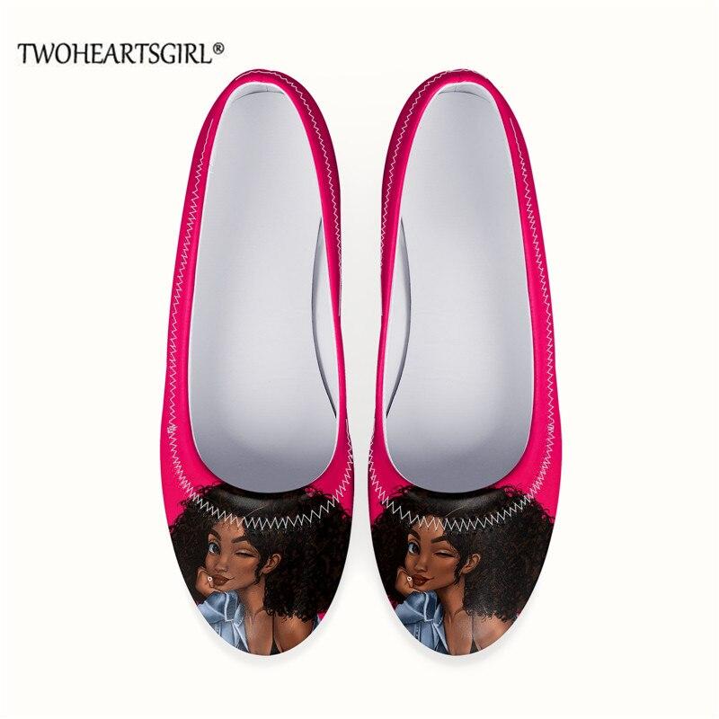 African Women Melanin Girl Loafers for Women Stylish Leather Female Flats Black Afro Girls Print Sof
