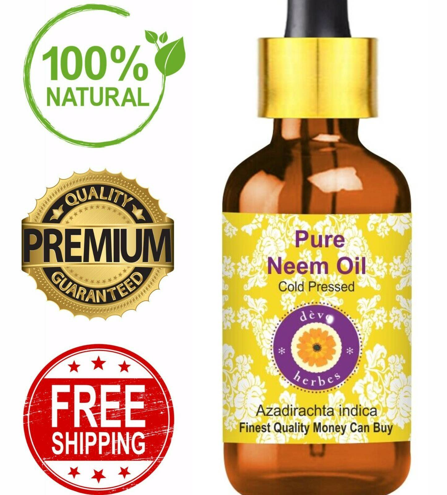 Pure Organic Neem Oil for Skin Hair PREMIUM QUALITY  Virgin 100% Pure Raw Unrefined Cold Pressed 5ML