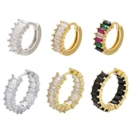 small hoop earrings rainbow t cubic zirconia jewelry geometric rectangle cz gold silver color earring black clear colorful stone