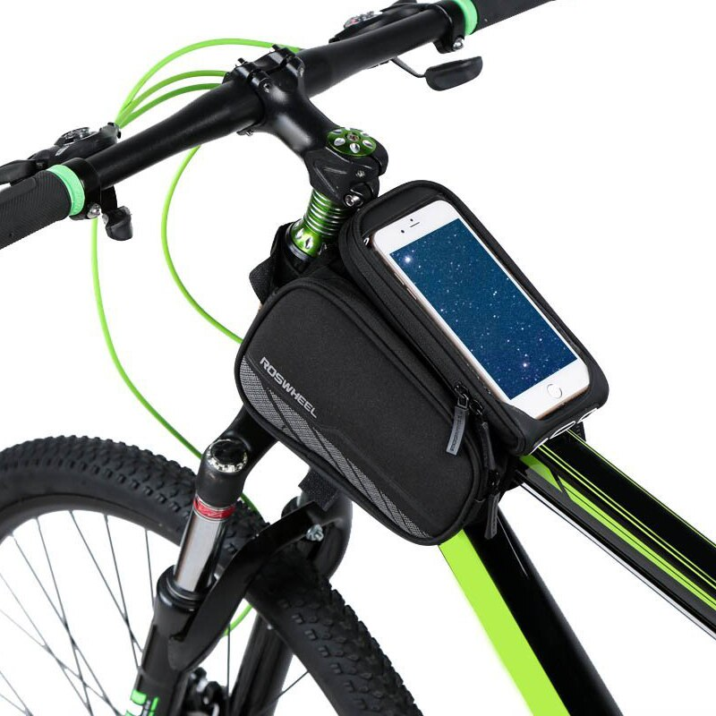Bicicleta de ciclismo roswheel resistente al agua Bolsa de tubo superior cuadro delantero de bicicleta Dual Panniers con bolsa de teléfono desmontable