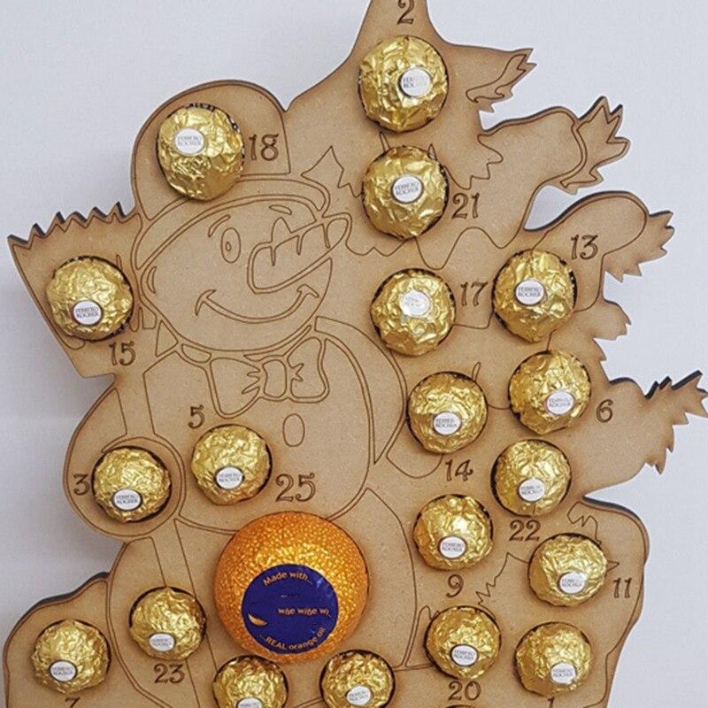 Calendario de Adviento de madera BESTChristmas para decoración de Chocolate, naranja, árbol de Navidad, alce, fiesta en casa