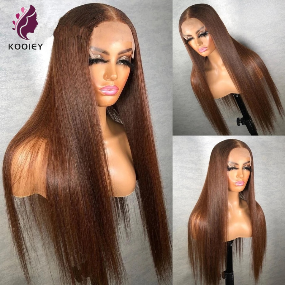Chocolate Brown 26 Inch Straight Lace Front Wig #4 Transparent Lace Frontal Wigs Straight 4x4 Lace Closure Human Hair Wig