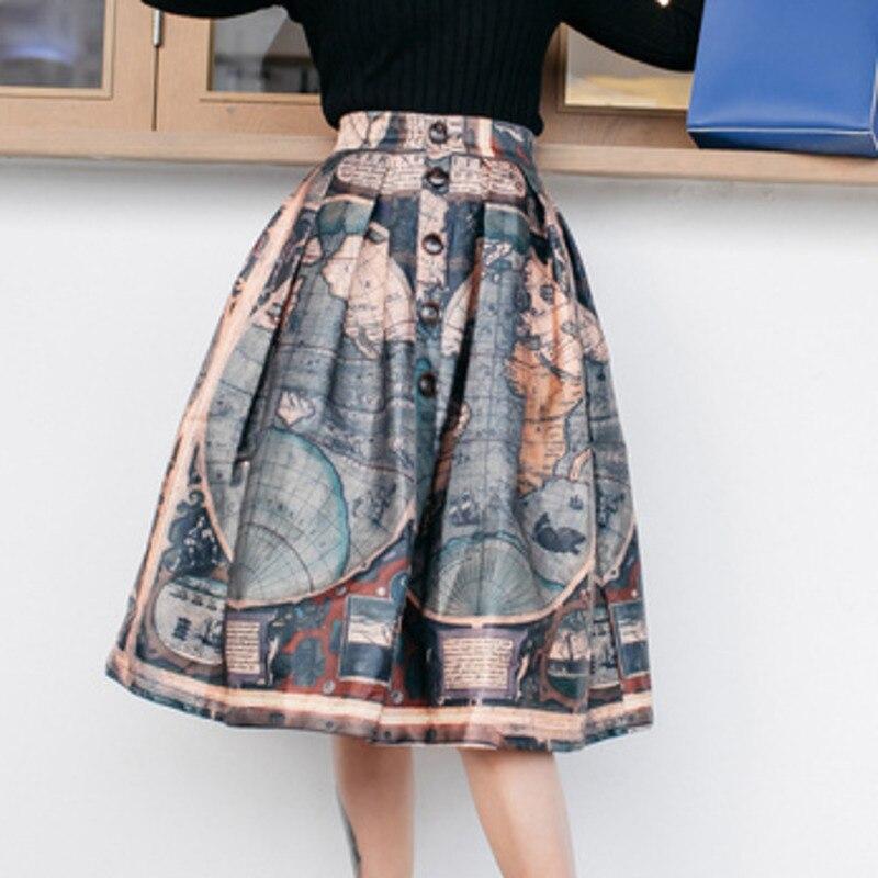 LANMREM mundo estampado de mapa de cintura alta único Breasted mujer suelta falda hinchada personalidad Casual moda desenfadada 2020 otoño nuevo TV535