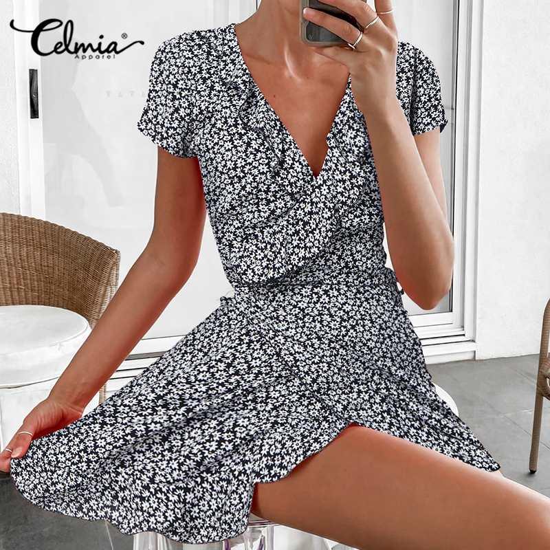 Celmia Fashion scollo a v stampa margherita abito arricciato donna estate manica corta Mini abito fasciatura abiti da festa Plus Size prendisole