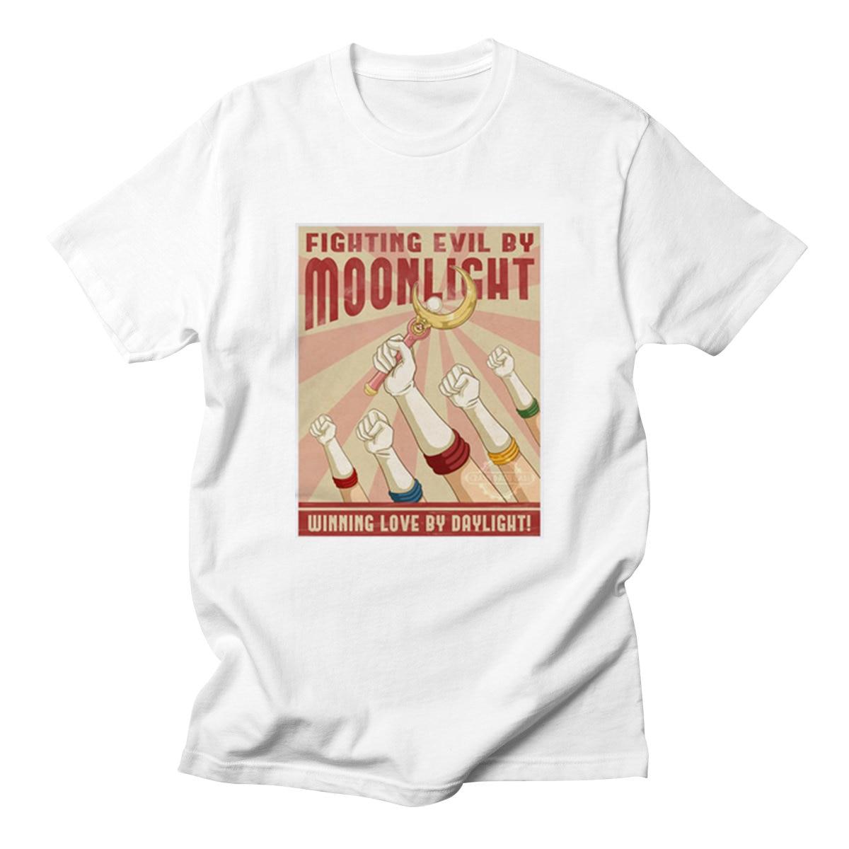 Camisetas Sailor Moon, estampado de moda para hombre, camiseta para hombre con Gato, verano 2020, divertida camiseta Rosa adorable, camisetas Kawaii Harajuku