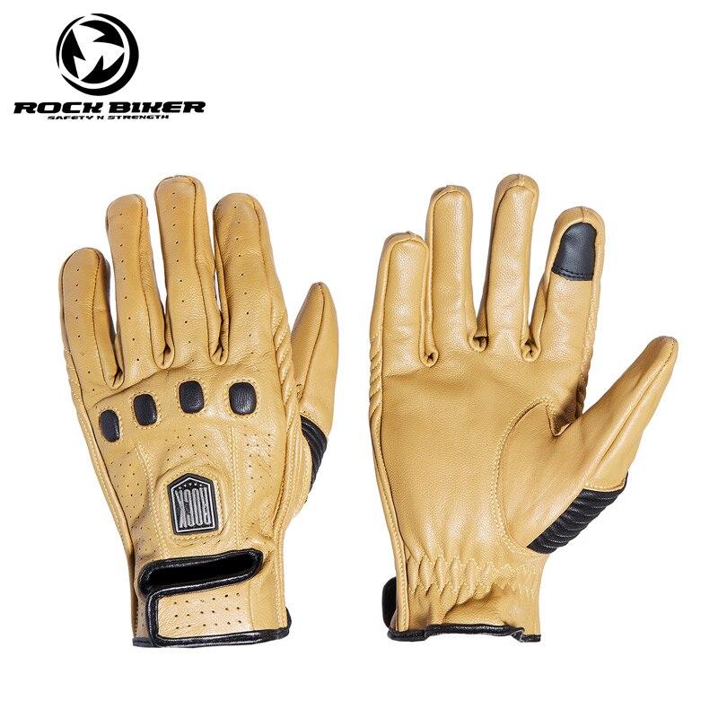 Guantes para motociclismo ROCK, guantes de piel de oveja de estilo Vintage con pantalla táctil transpirable, resistentes al agua, para ciclismo