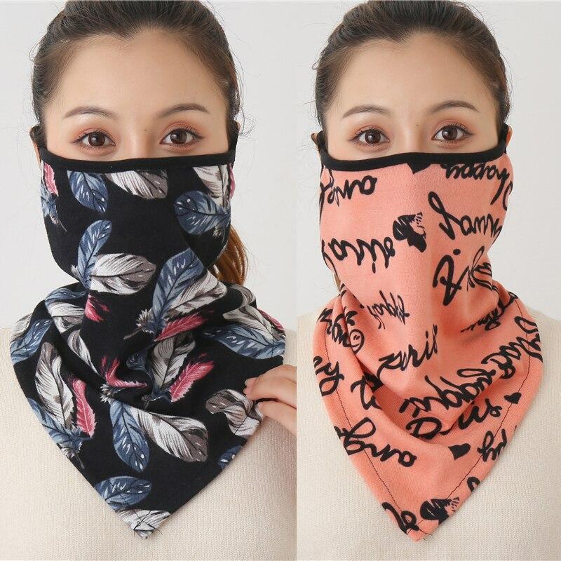 2021 Зимняя Маска Для Лица Шарф женский кольцо шейный шарф хлопок ощущение теплый модный принт мужская уличная спортивная бандана унисекс