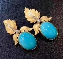 Gorgeous 24K Gold Leaf Set diamante colgante turquesa aro pendientes novia boda compromiso joyería regalos