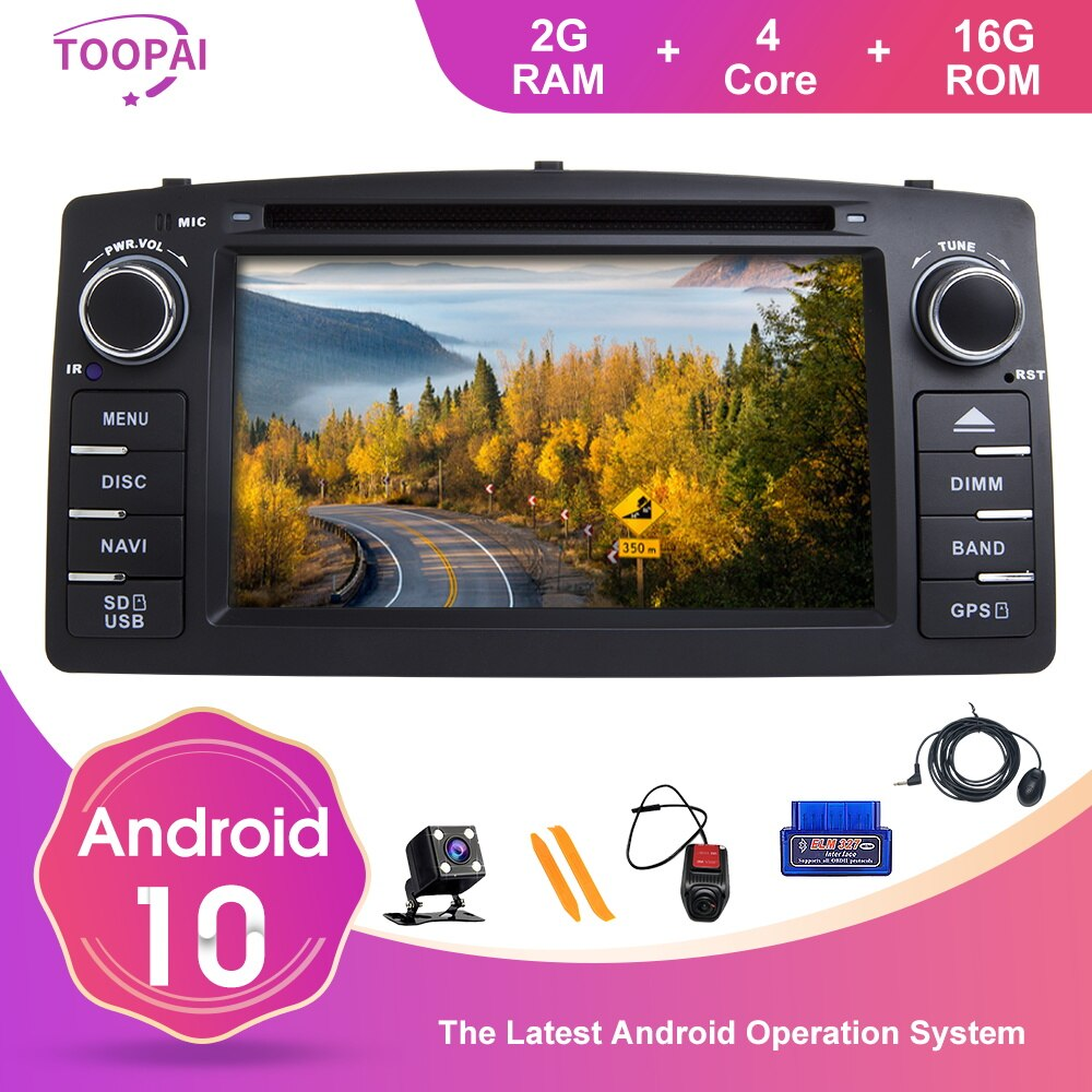 TOOPAI Android 10 For Toyota Corolla E120 BYD F3 Car Multimedia Navigation GPS SWC DVD CD Media Play