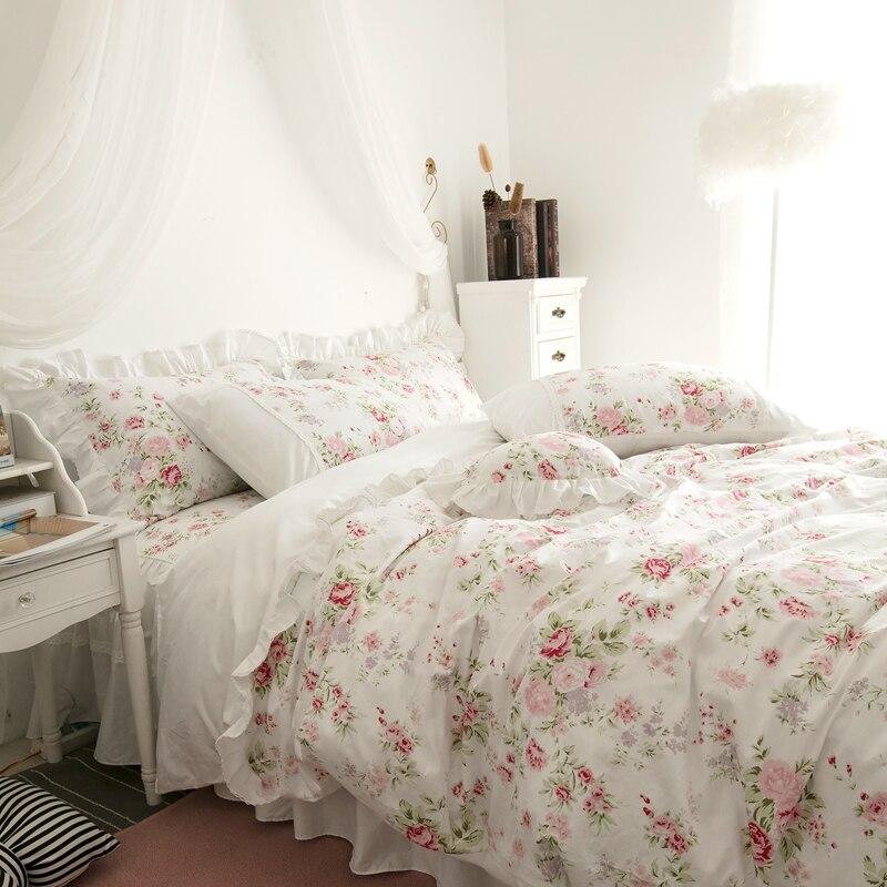 Korean style fresh garden flower bedding set princess cotton lace bed spread ruffles home textile