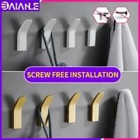 toilet robe hook adhesive bedroom coat hook wall fitting room towel white hooks screw free installation bathroom accessories