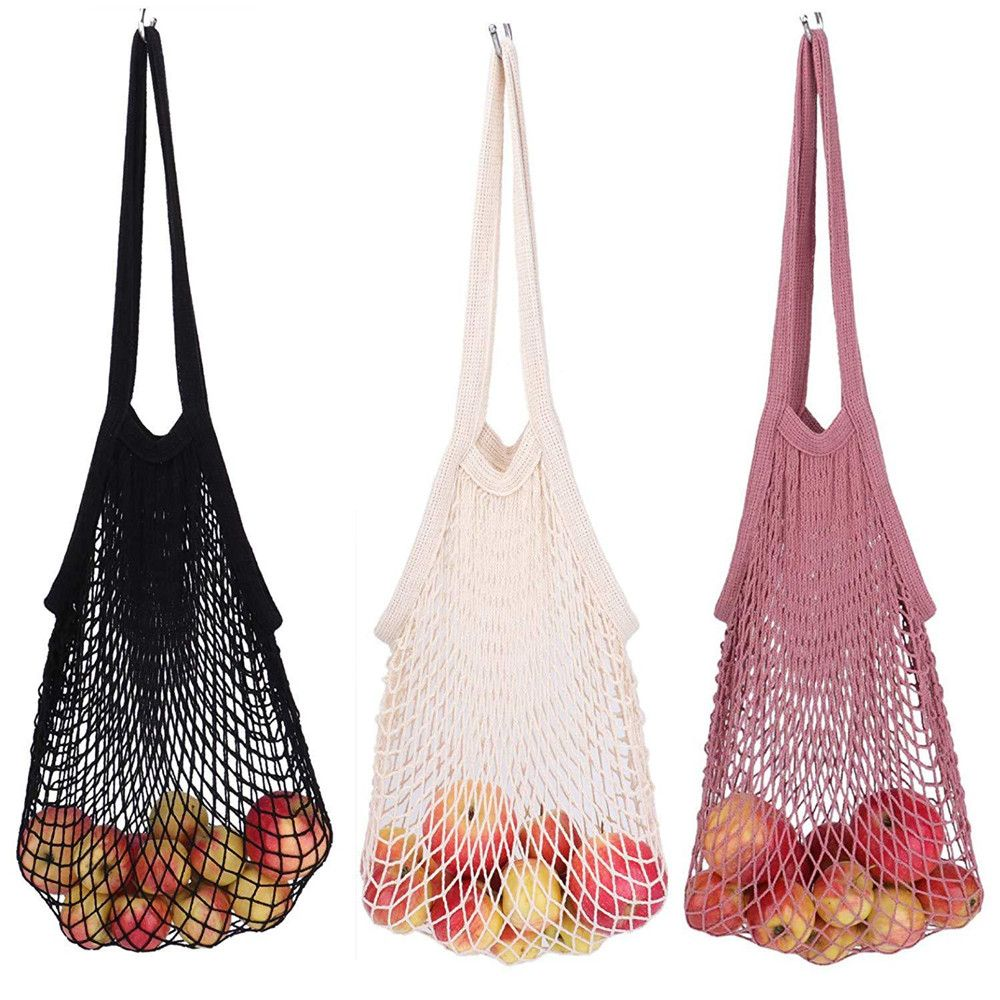 Washable Cotton Mesh Net String Shopping Bag Portable Reusable Grocery Bags Foldable Fruit Storage Handbag Net Tote Organizer