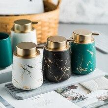 Matte black/white/green gold marble pattern bathroom hand soap dispenser ceramic lotion bottle soap dish Bathroom supplies