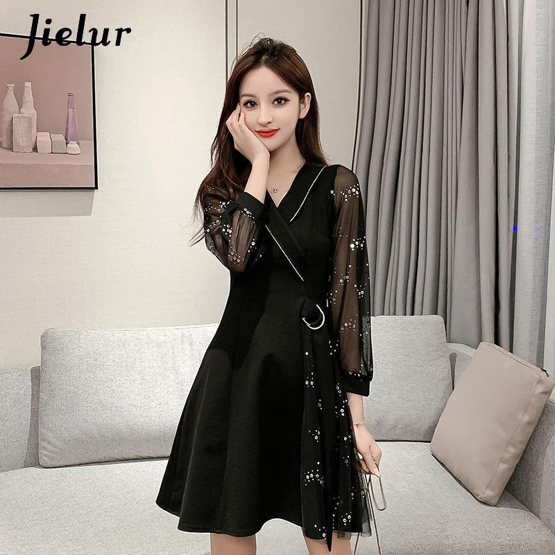 Jielur malha lantejoulas preto vestido feminino coreano midi cinto com decote em v moda chique retro doce vestido a linha magro vestidos de festa mujer