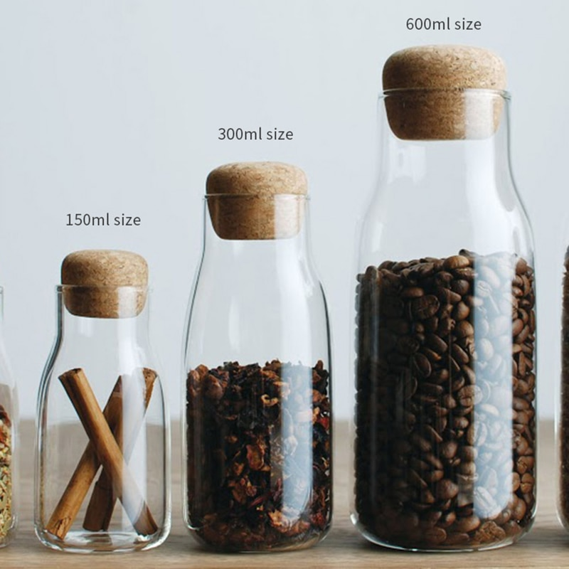 Glass Seal Jar Tea Candy Storage bottle Transparent Lids Coffee Storage Jar Cork Kitchen Tank Glass Food Storage Organization