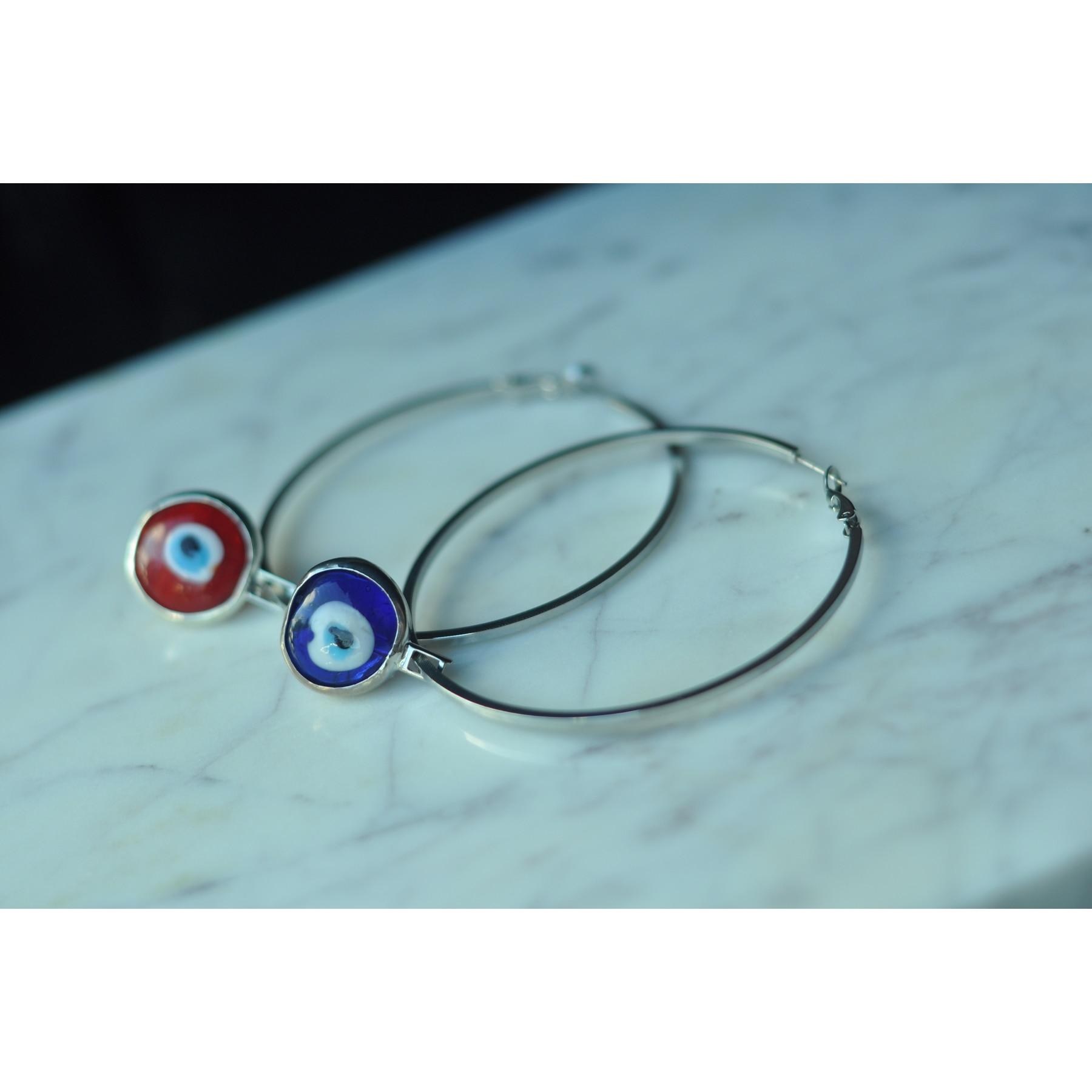 GULCE DERELI-أقراط كبيرة على شكل عين الشر باللونين الأزرق والأحمر ، أقراط دائرية ، أقراط ساحرة ، صندوق هدايا ، مطلية بالذهب والفضة