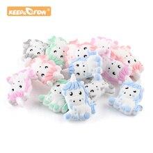 Keep&Grow 5pcs Cartoon Cute Baby Unicorn Silicone Teething Beads Molar Period Pacifier Chain Toys Ne