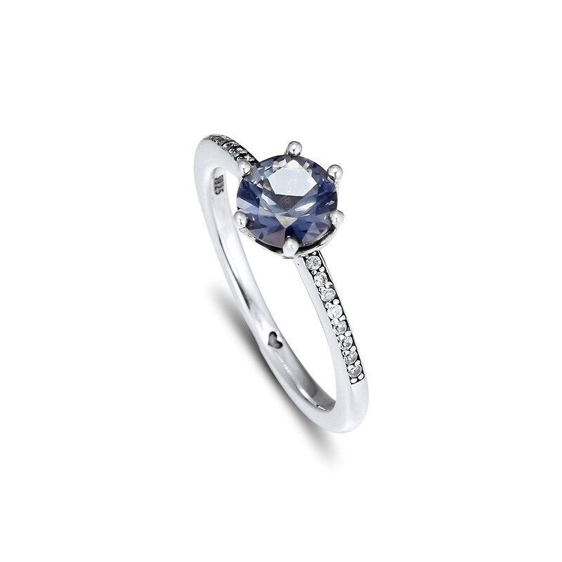 Anillos de corona brillantes de circonita azul para mujer, anillos de plata de ley 925 a la moda, joyería para niñas, anillos de compromiso de cristal, regalos de joyería