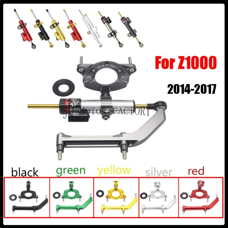 Para Kawasaki Z1000 2014-2017 CNC Al accesorios motocicleta ajustable dirección amortiguador estabilizador soporte montaje Holde kit