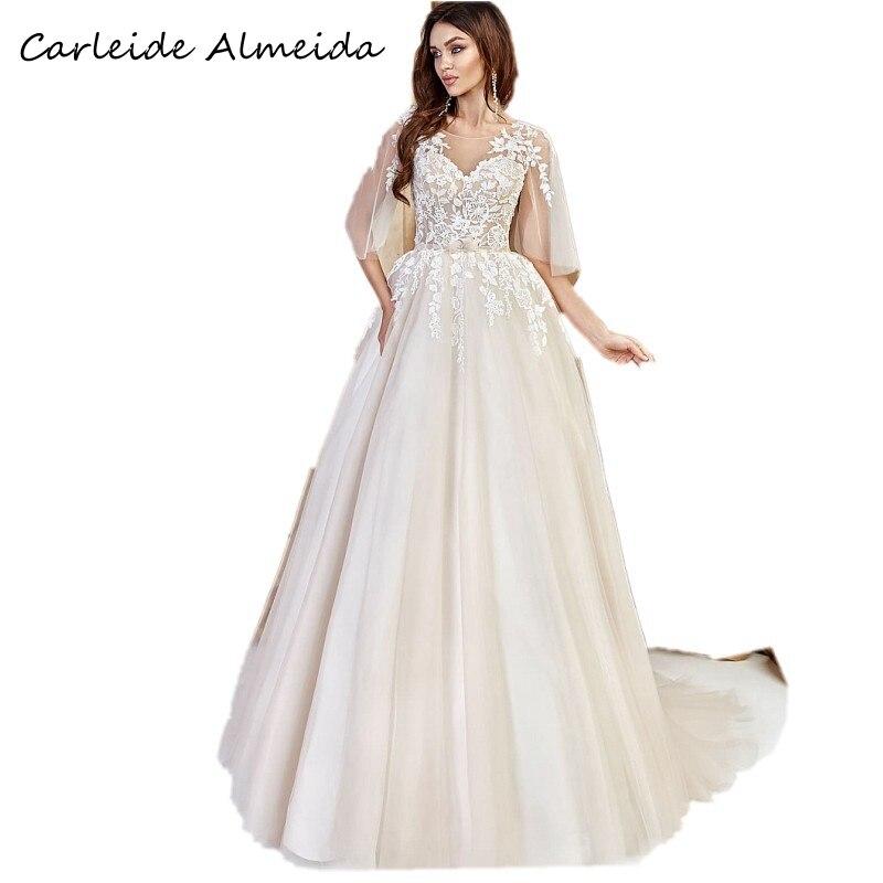 Vestidos de novia Línea A Vestidos de novia simples con encaje apliques...