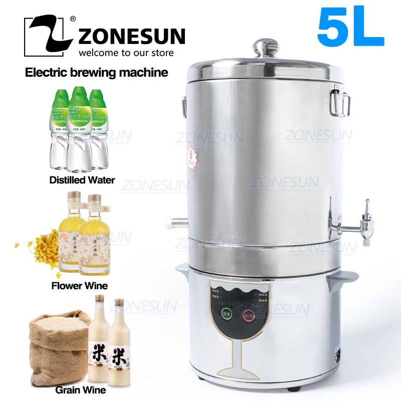 ZONESUN 5L المقطر النبيذ المنزلي المياه المقطر للحبوب زهرة شراب الفواكه النبيذ المنزلي الكحول ماكينة الغذاء
