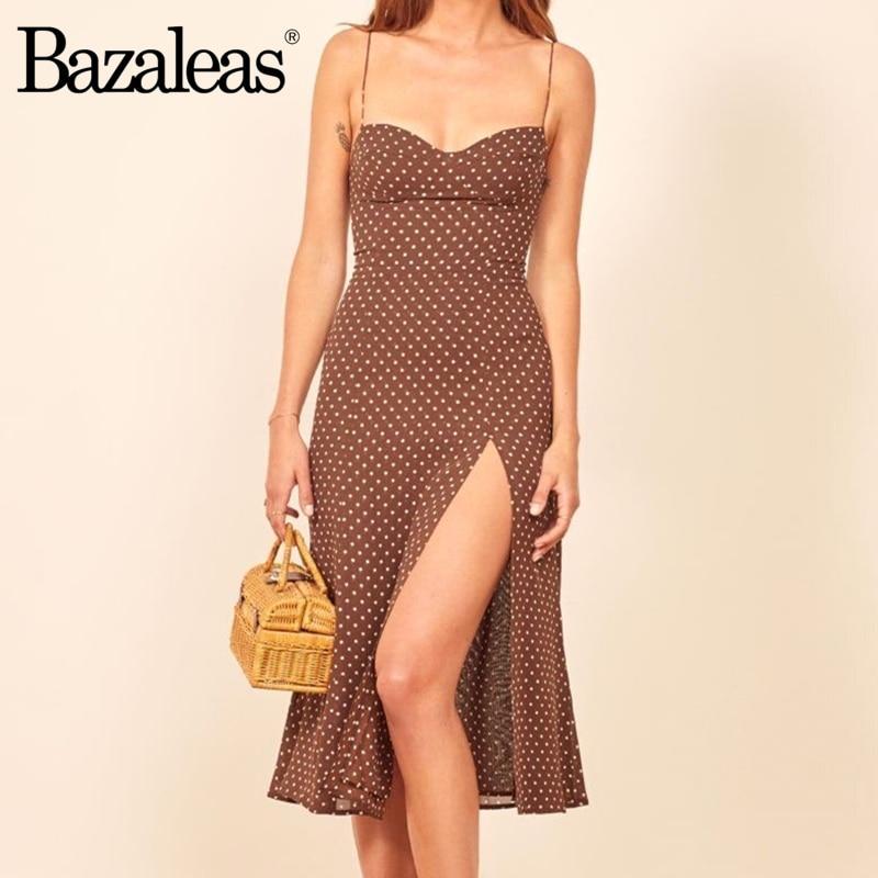 Bazaleas ретро платья тонкое шикарное коричневое платье сексуальное платье в горошек с разрезом vestidos винтажное женское платье