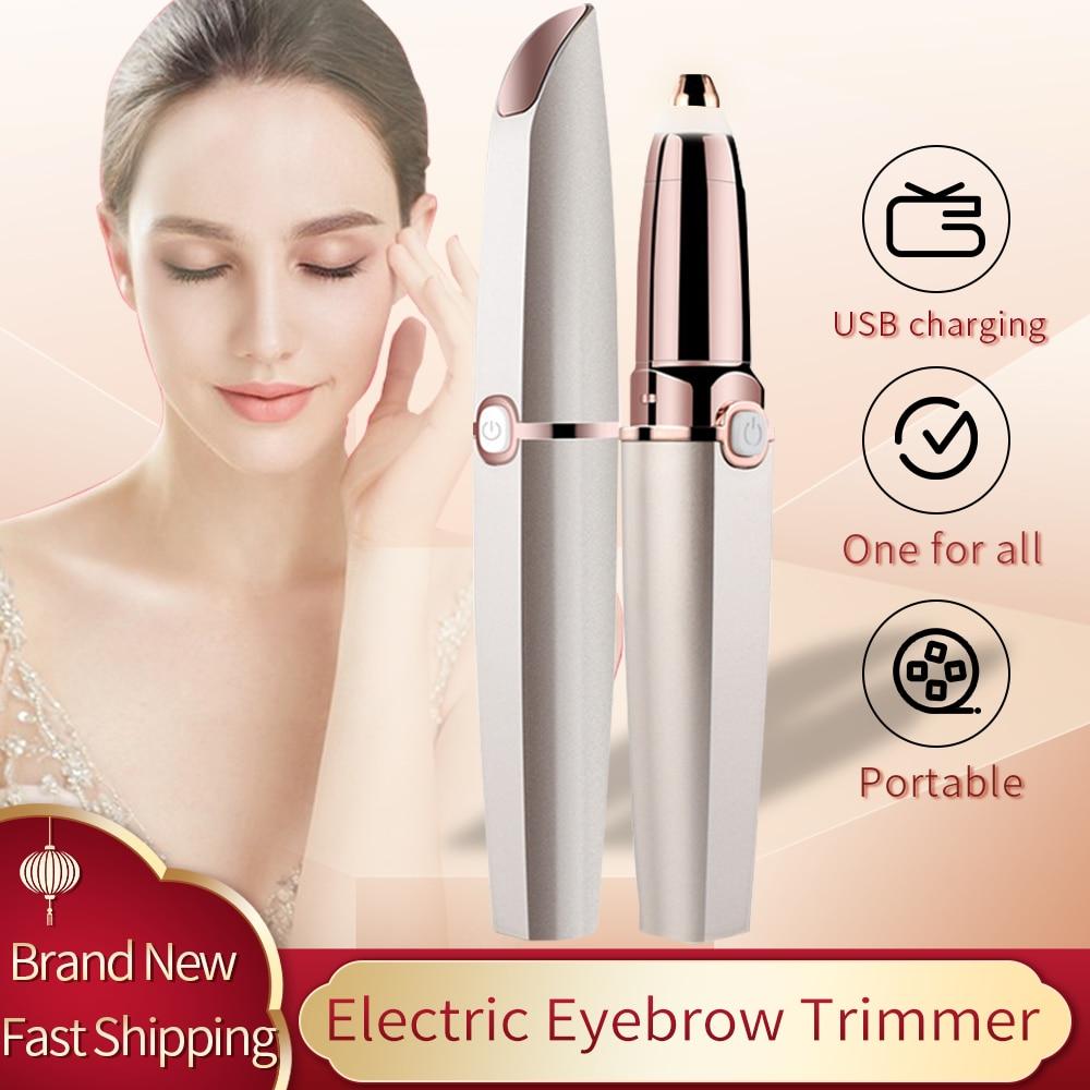Rechargeable Electric Eyebrow Trimmer Makeup Painless Epilator Mini Shaver Razors Portable Facial Ha