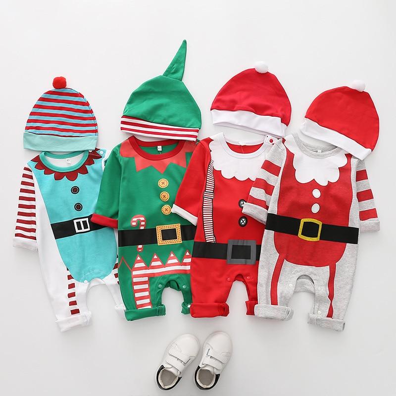 Navidad Bebé Ropa niños niñas mamelucos bebé sombrero mameluco Santa Claus conjunto de manga larga ropa de Navidad para bebés regalo para recién nacido