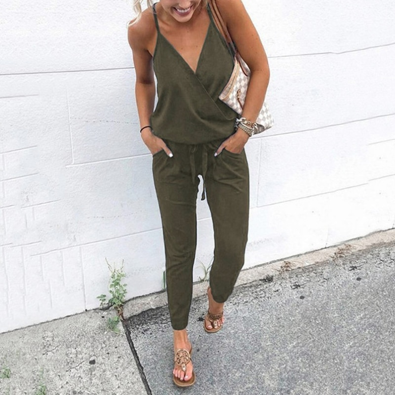 Verano de 2020 las mujeres vacaciones Casual sin mangas trajes de las señoras de moda de Color sólido mono pierna ancha pantalones largos Pantalones