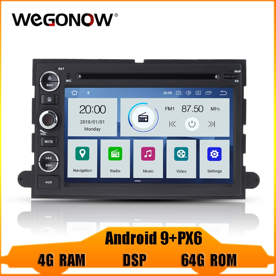 DSP IPS PX6 Android 9,0 4G RAM 64G reproductor de DVD del coche GPS mapa WIFI Radio Bluetooth 4,2 para Ford Fusion Explorer F150 borde expedición