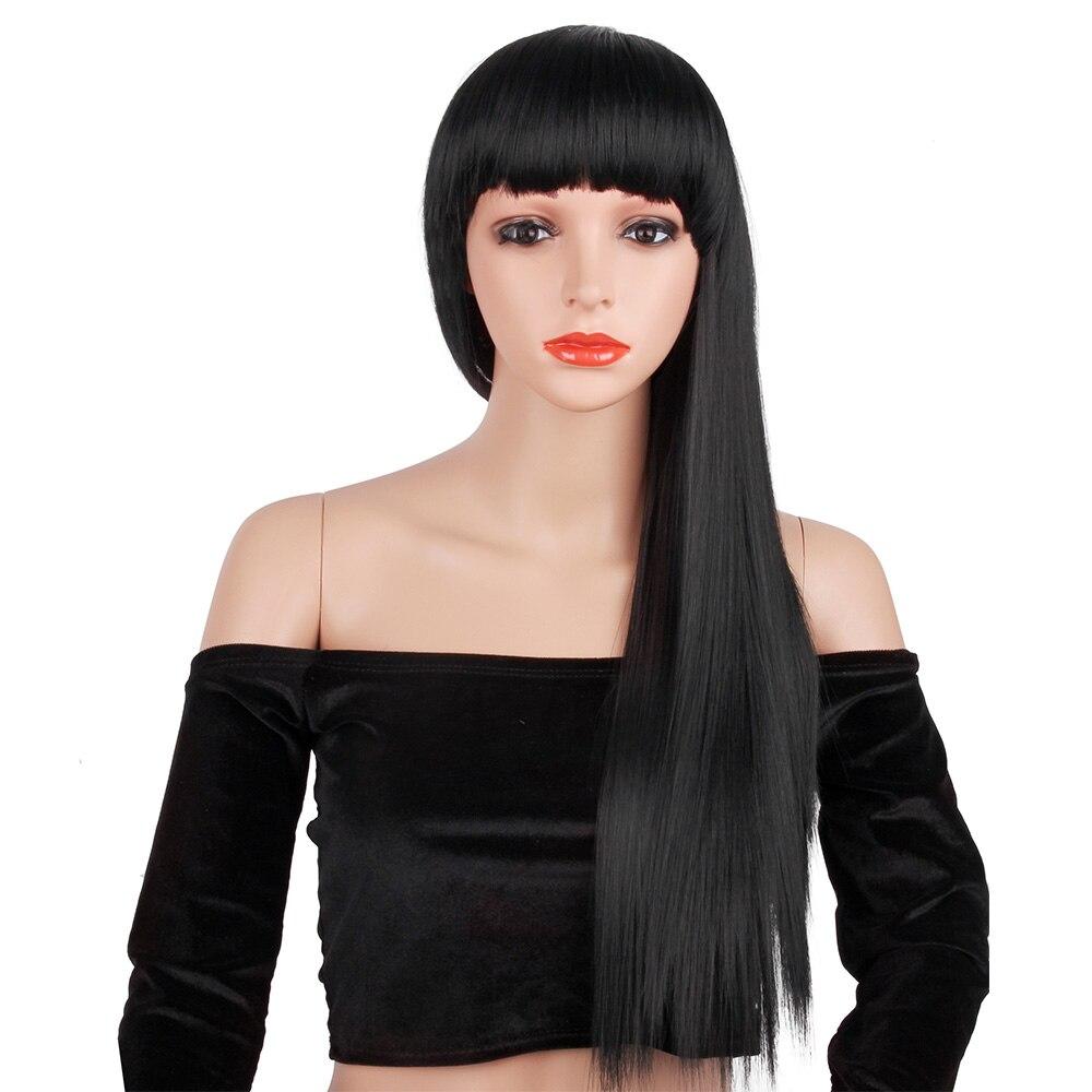 liangmo perucas longas em linha reta peruca sintetica com franja para afro americanos