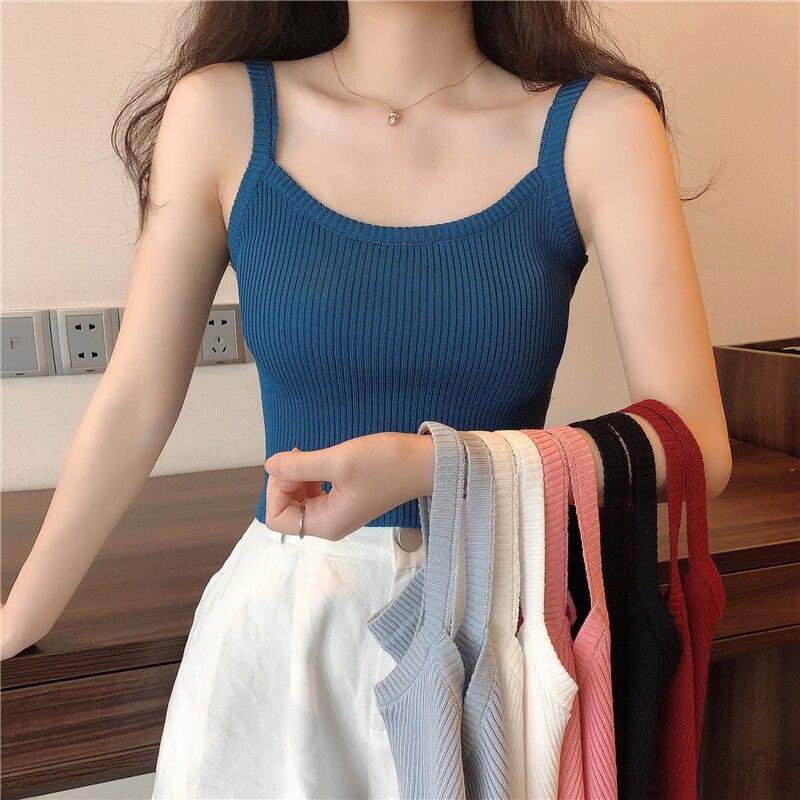 Summer Ins Trendy Korean Style Ice Silk Knitted Sleeveless T-shirt Outer Wear Short Small Sling Vest