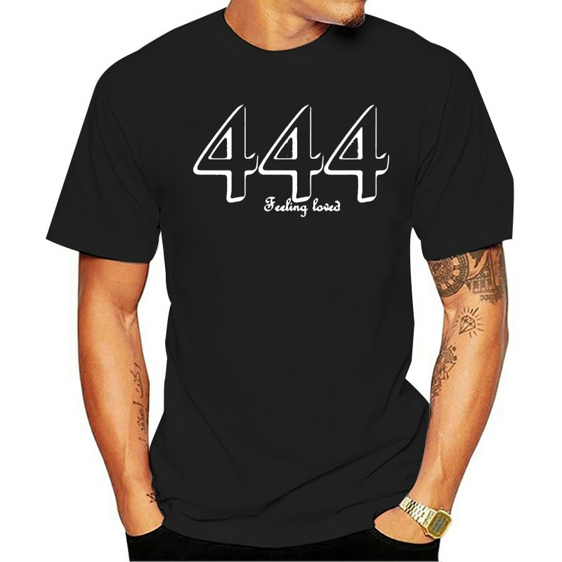 444 anjo número camiseta com lágrima longe etiqueta numerologia anjo camisa de algodão manga curta camiseta