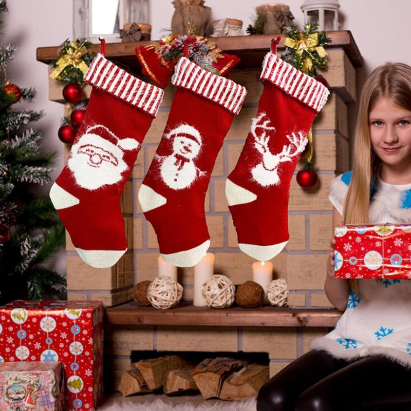 Christmas Sock New Year Party Christmas Tree Hanging Stocking Sock Gift Kids Candy Bag Holiday Party