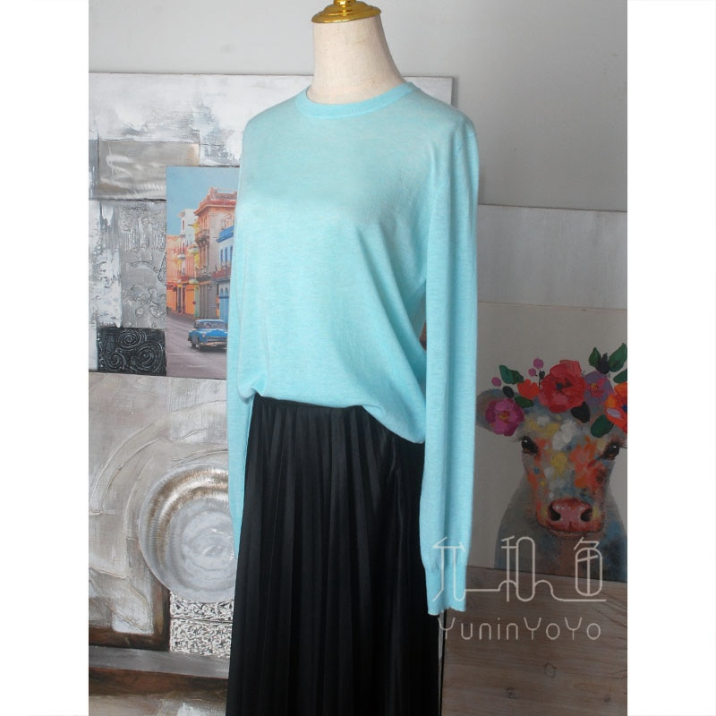 Very soft, comfortable and delicate 80 count worsted 100% cashmere Pullover Knitned women`s thin sweater enlarge
