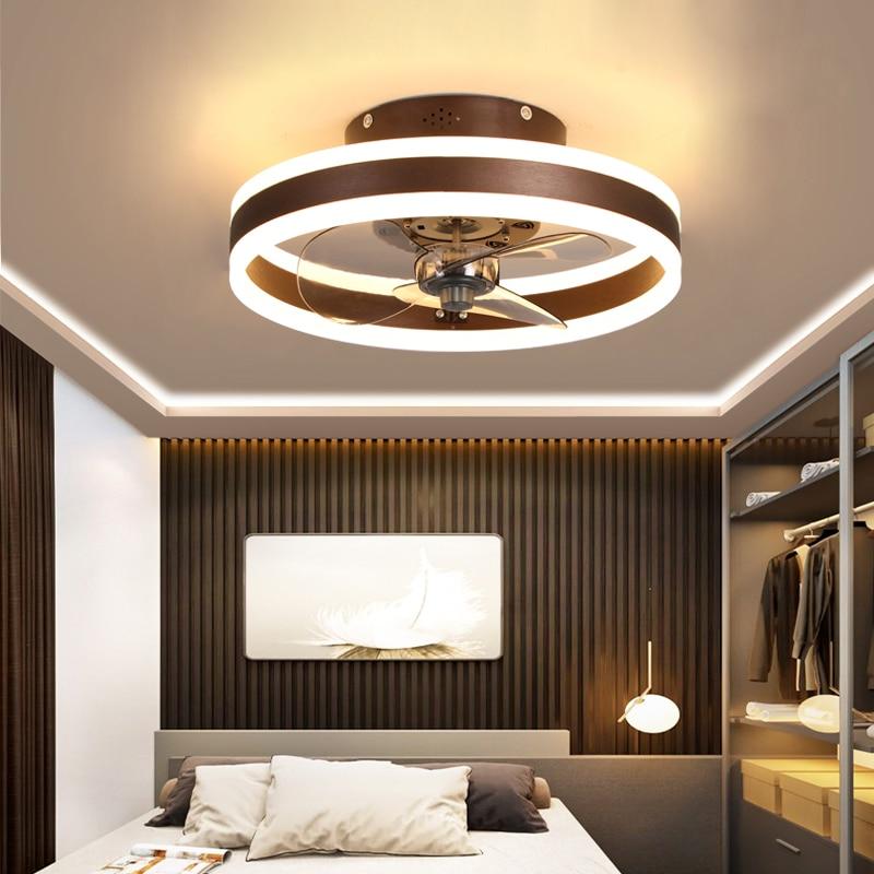 Modern minimalist ceiling fan light crystal decorative LED remote control lighting bedroom fan lamp AC220V/110V