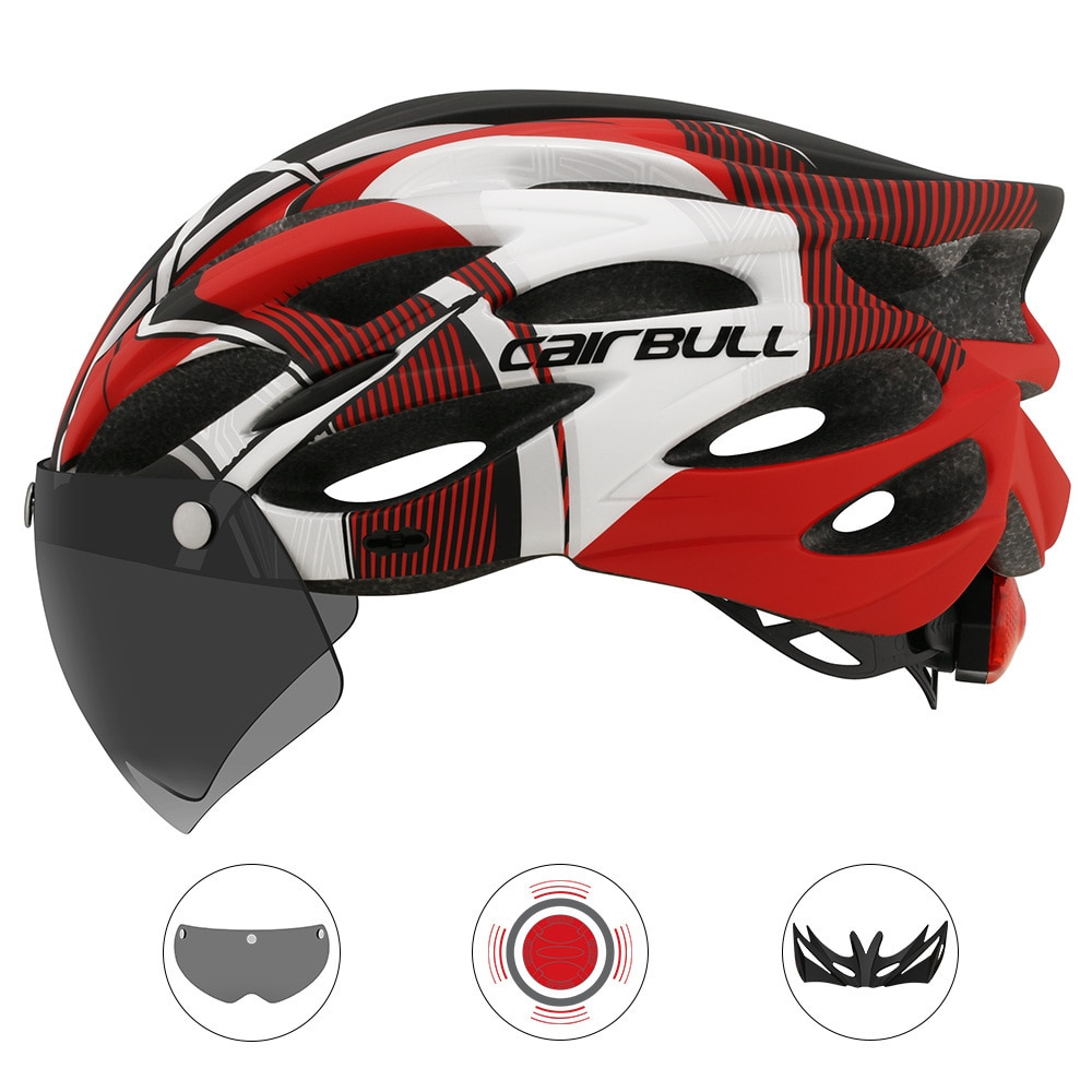 Cycling Helmet With Removable Visor Goggles Bike Taillight Mountain Road MTB Helmets Intergrally-molded  Bicycle Casco enlarge
