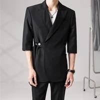 jacketpants blazers men fashion solid color business casual suits men streetwear wild loose korean groom wedding dress suit