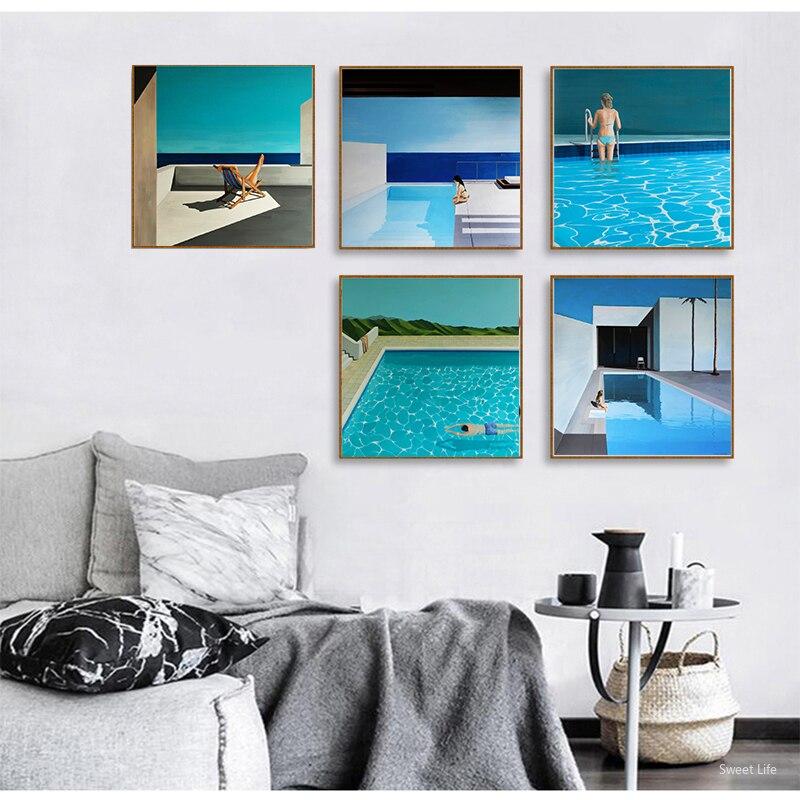 David Hockney A Bigger Splash Artist Custom Fresh with swimming pool Home Decor Poster Prints Wall Canvas Art For Living Room