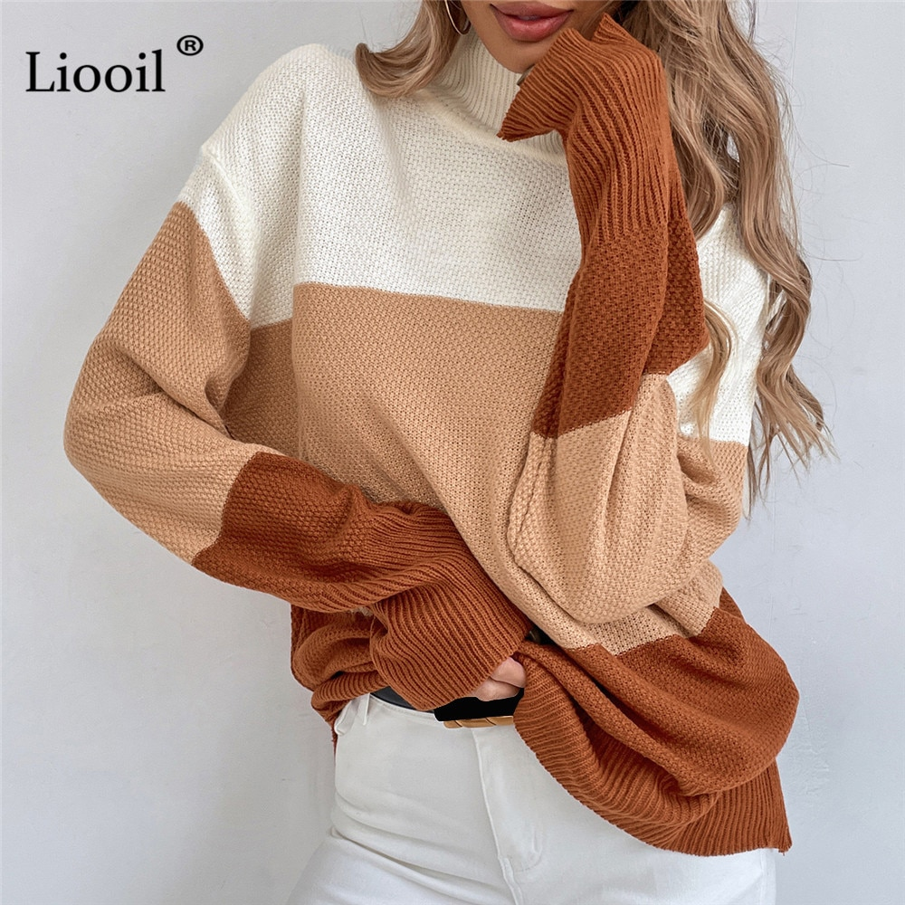 Color Block Pull Femme Knit Loose Sweater Khaki Long Sleeve Knitted Tops Womens Sweaters 2021 Autumn Winter Streetwear Jumper