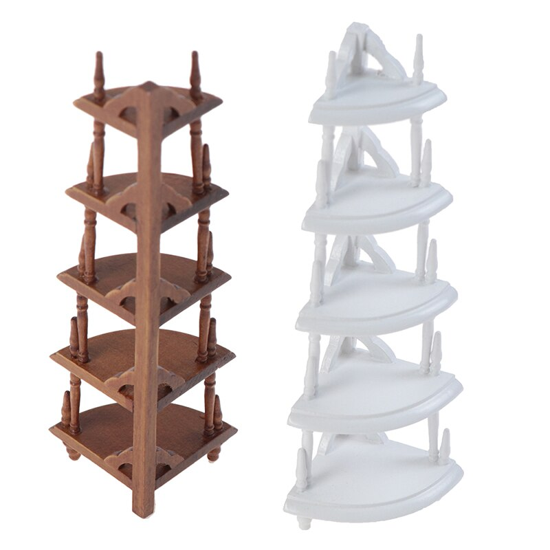Escala 112, Escena de armario de comedor de cocina, estante triangular de madera, Mini armario lateral, accesorios de estante de exhibición en miniatura