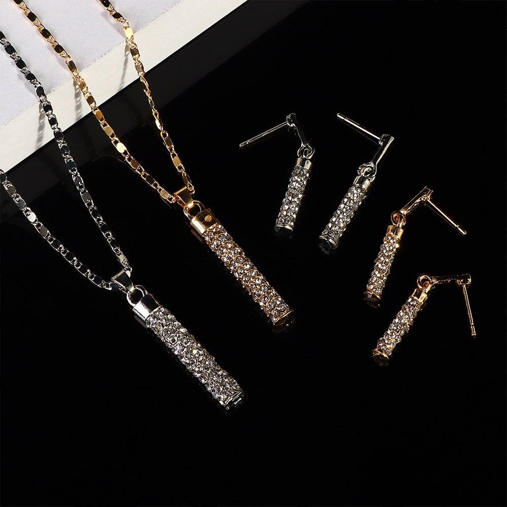 Colar de casamento e brincos conjunto de jóias de cristal para festa feminina forma cilindro brincos pingente colar de jóias