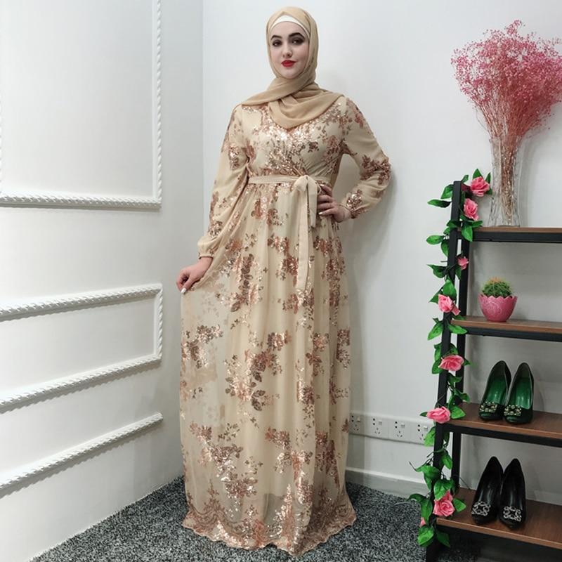Fashion Muslim Abaya Dress Metal Color High End Lace Hot Stamp Dubai Robe Arab Islam Elegant Party Dress Ramadan