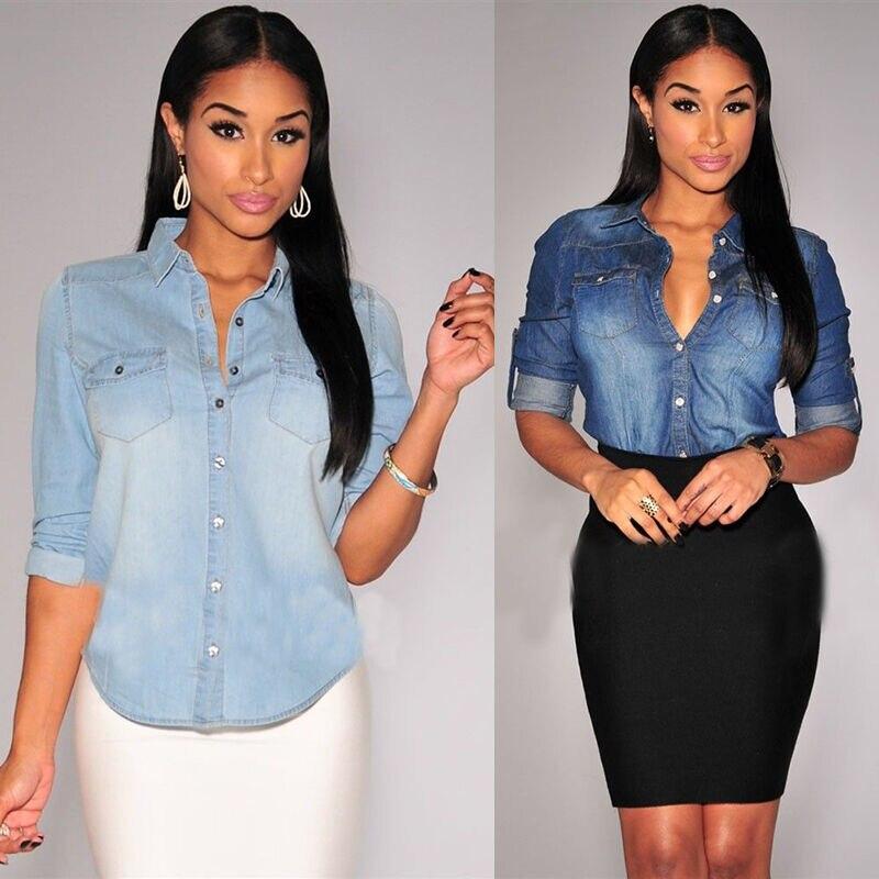 New Womens Retro Blue Jean Soft Denim Long Sleeve Casual Shirt Tops Blouse S-XL