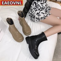 small boots women wear thick soled non slip medium boots 2021 spring and autumn new doll round head zipper ankle boots